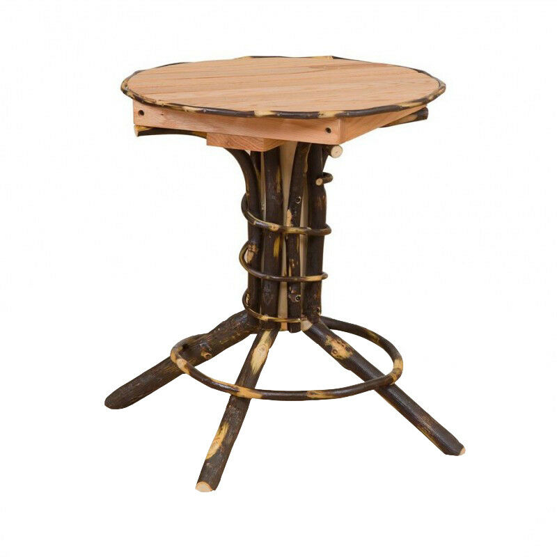 Hickory oak rustic round pedestal end table amish