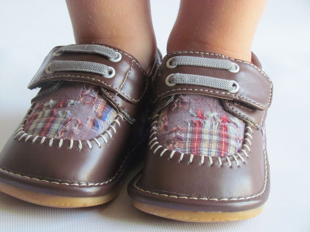 Toddler Shoes - Squeaky Shoes - Boys Brown w/ Plaid Dress ...