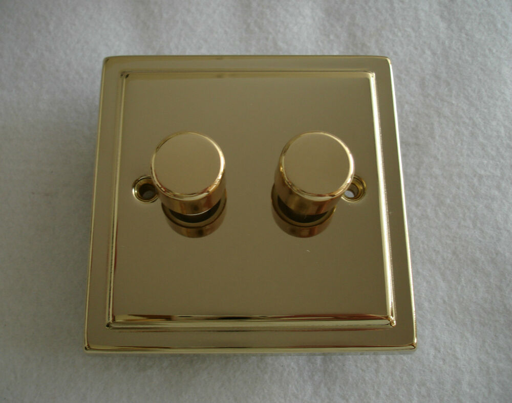 decorative victorian brass 250w dimmer switch push on off 2 gang 2 way. Black Bedroom Furniture Sets. Home Design Ideas