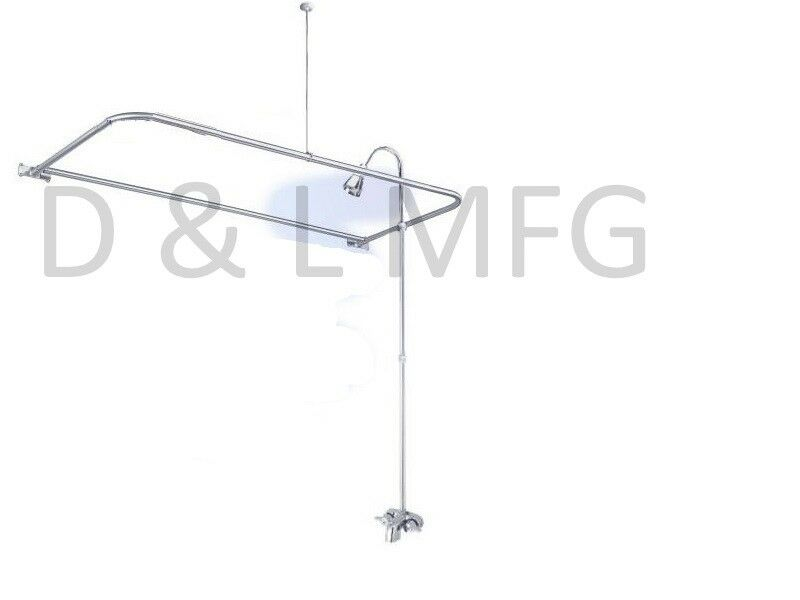 SATIN NICKEL Clawfoot Tub Shower With D Curtain Rod EBay
