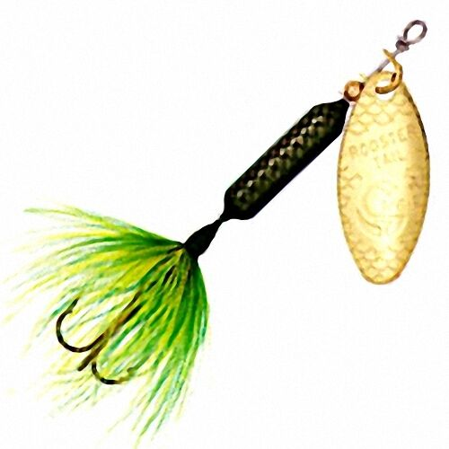 New rooster tail green frog spinner gold blade your for Rooster tail fishing lure