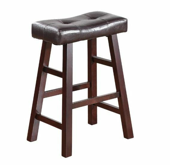 New Wood Kitchen Counter 2 Bar Stool Seat Set Leather