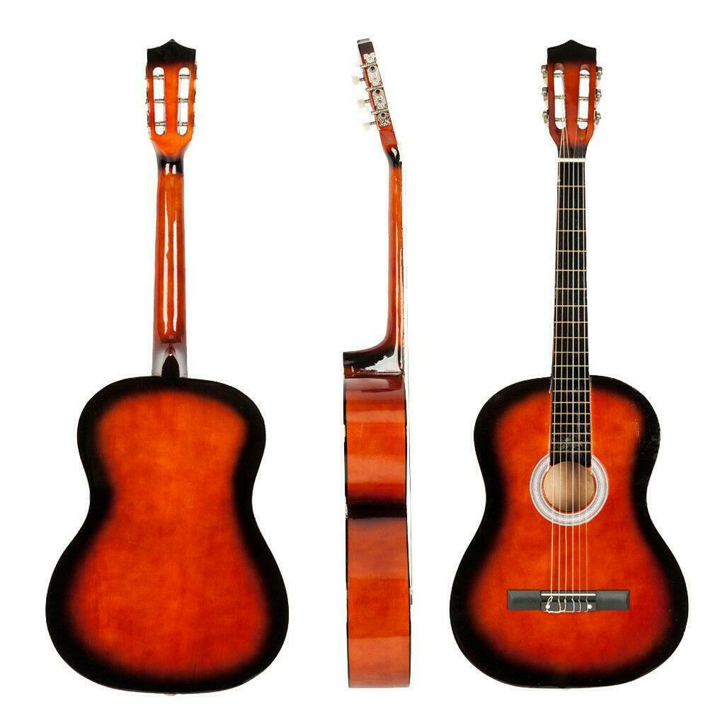brand new 38 classical acoustic guitar brown pick string ebay. Black Bedroom Furniture Sets. Home Design Ideas