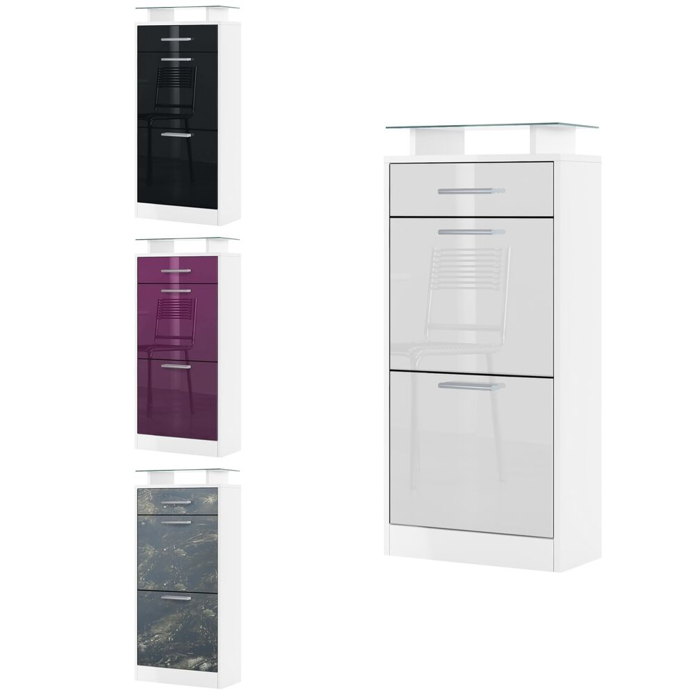 shoe storage rack cabinet loret v2 in white high gloss natural tones ebay