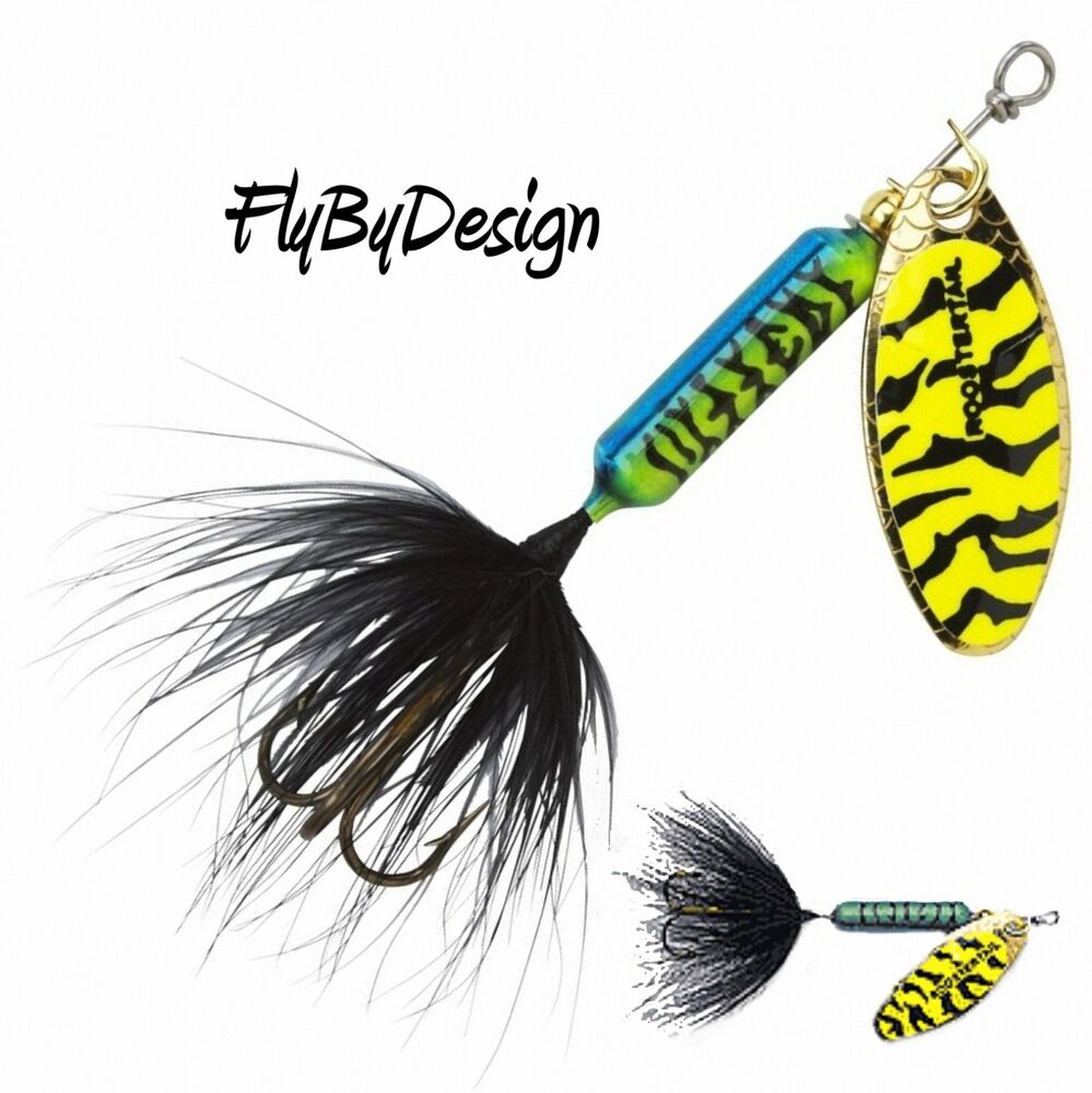 New rooster tail blue chartreuse black tiger fishing for Chartreuse fishing lures