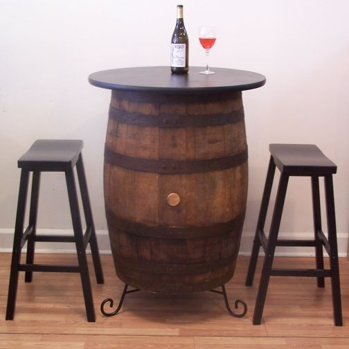 White oak whiskey barrel table quot top bar