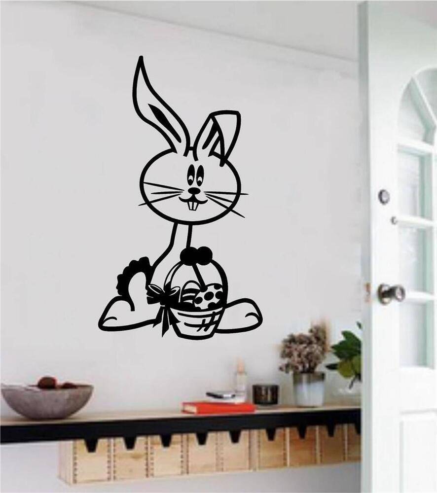 easter bunny vinyl decal wall sticker spring home decor kids room school decor ebay. Black Bedroom Furniture Sets. Home Design Ideas