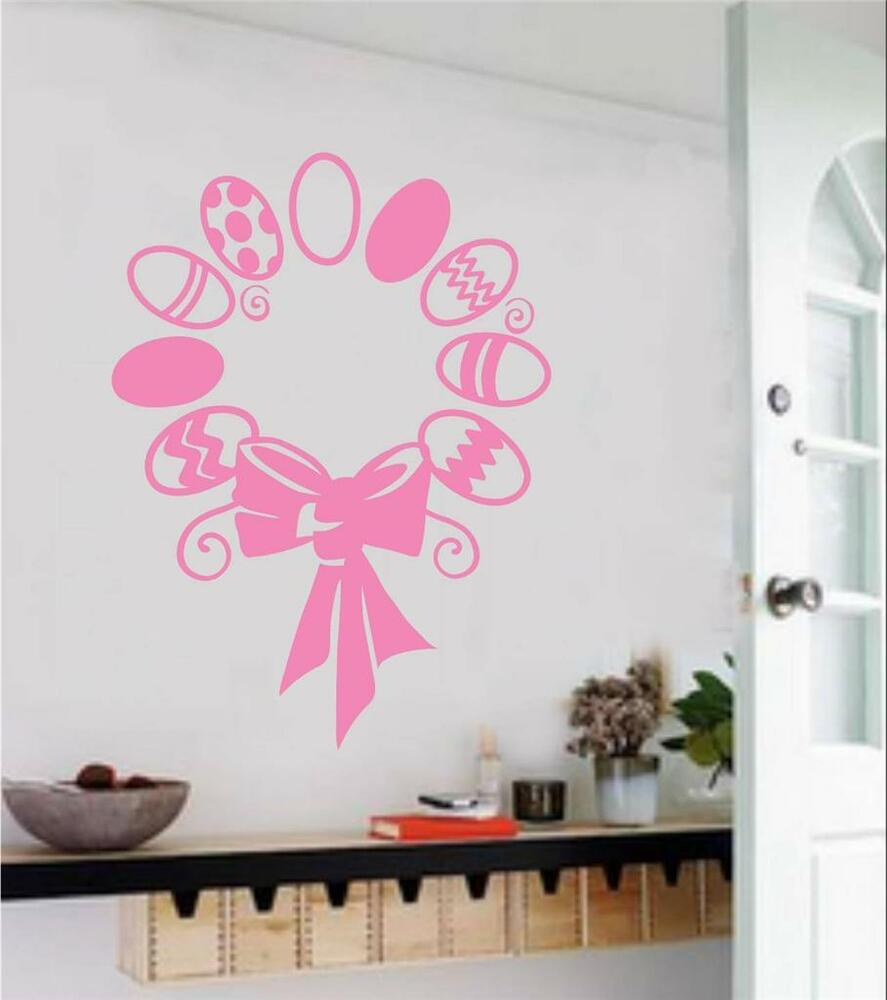 Easter egg wreath vinyl decal wall sticker spring home for Spring home decor