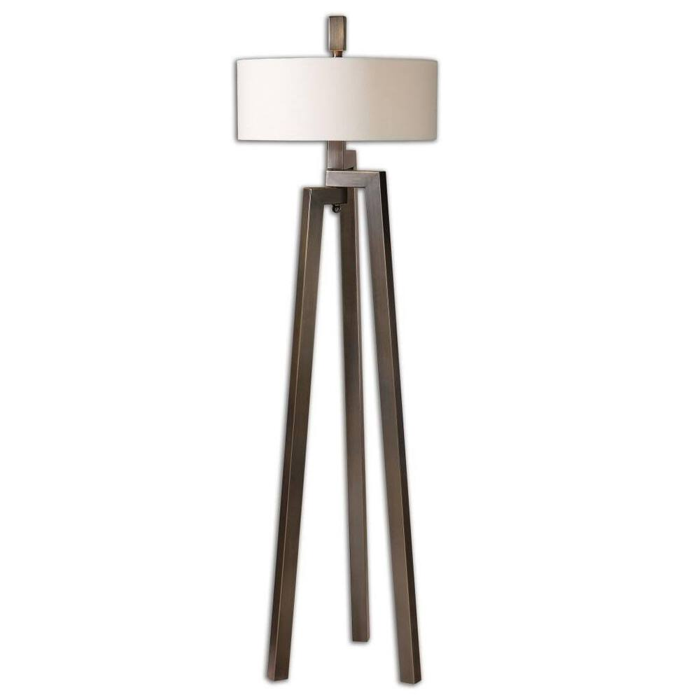 Modern bronze tripod floor lamp geometric metal for Modern contemporary floor lamp