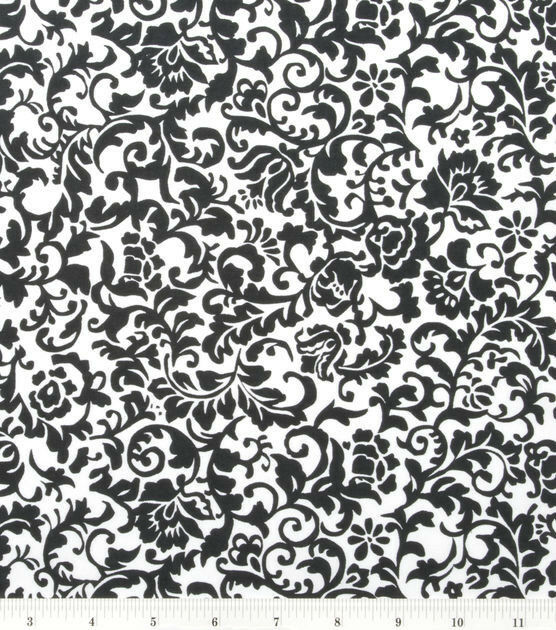 BLACK AND WHITE SCROLL DAMASK VALANCE LOW SHIP!
