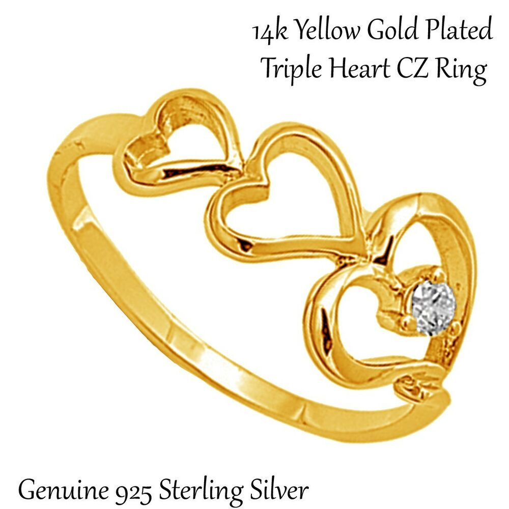 14k yellow gold plated triple heart genuine sterling silver ring size 3 12 ebay. Black Bedroom Furniture Sets. Home Design Ideas