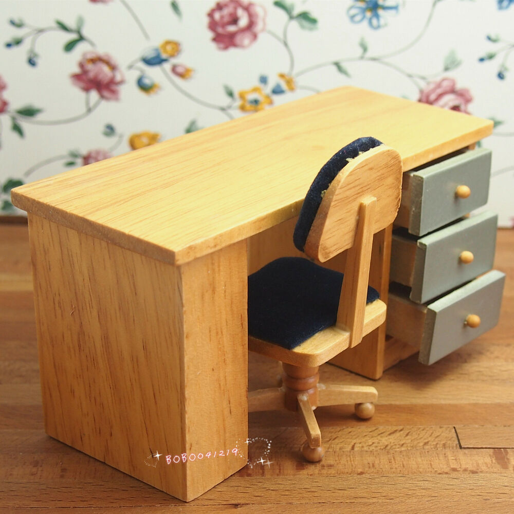 Dollhouse miniature toy study room wooden desk and