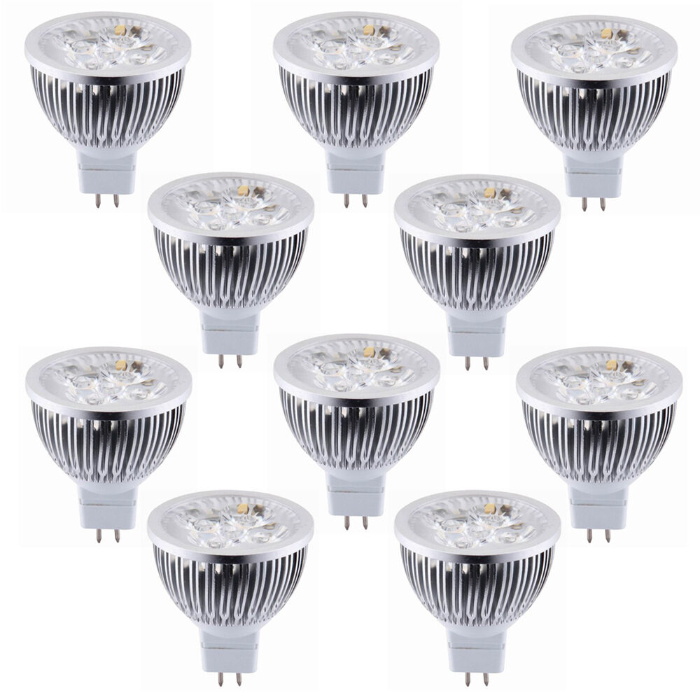 10pcs 12v 4w mr16 led light bulb 3200k warm white led spotlight 330lm equal 50w ebay Mr16 bulb