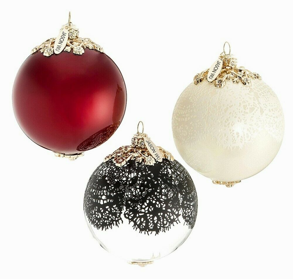 Jason wu neiman marcus holiday ornament set of 3 elegant for Holiday christmas ornaments