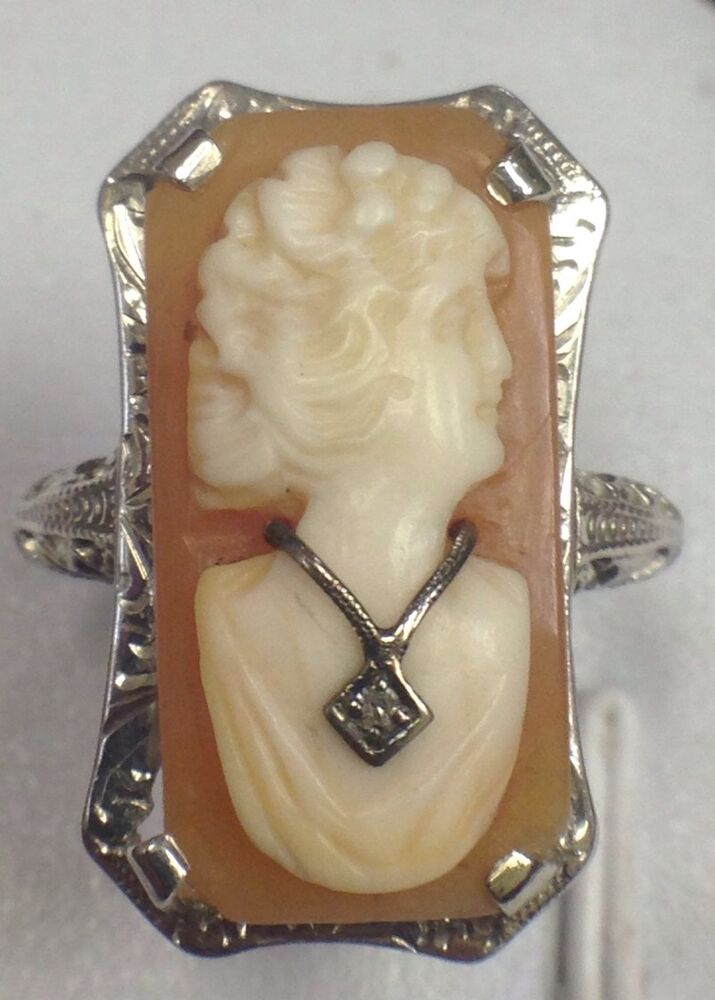 antique 14k white gold cameo ring necklace