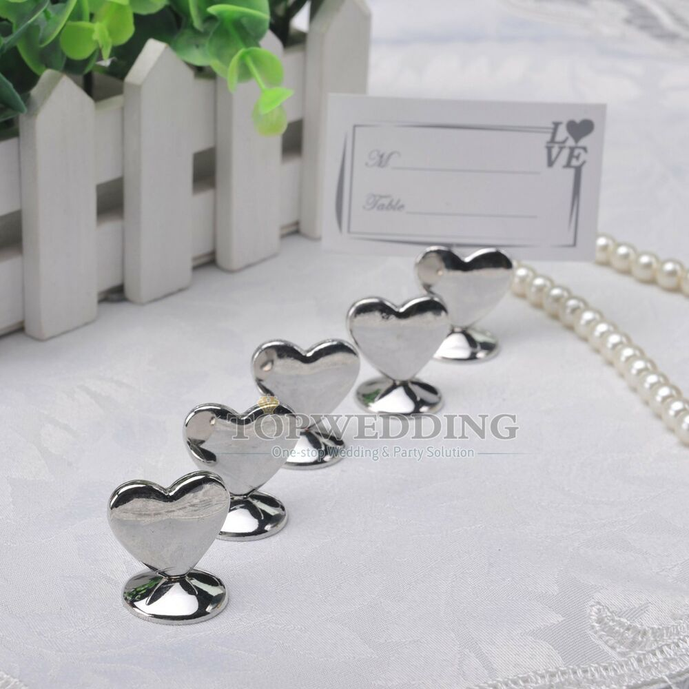 10/20/50PCS Silver Heart Shaped Place Card Holders Wedding Shower Party Favors : eBay