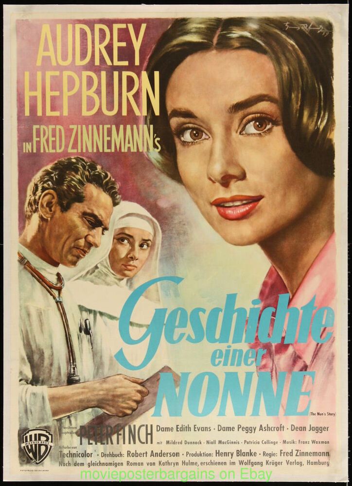 the nun 39 s story audrey hepburn movie poster german 23x33 inch a1 size linen 1959 ebay. Black Bedroom Furniture Sets. Home Design Ideas