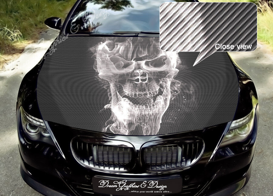 Skull Full Color Graphics Adhesive Vinyl Sticker Fit Any