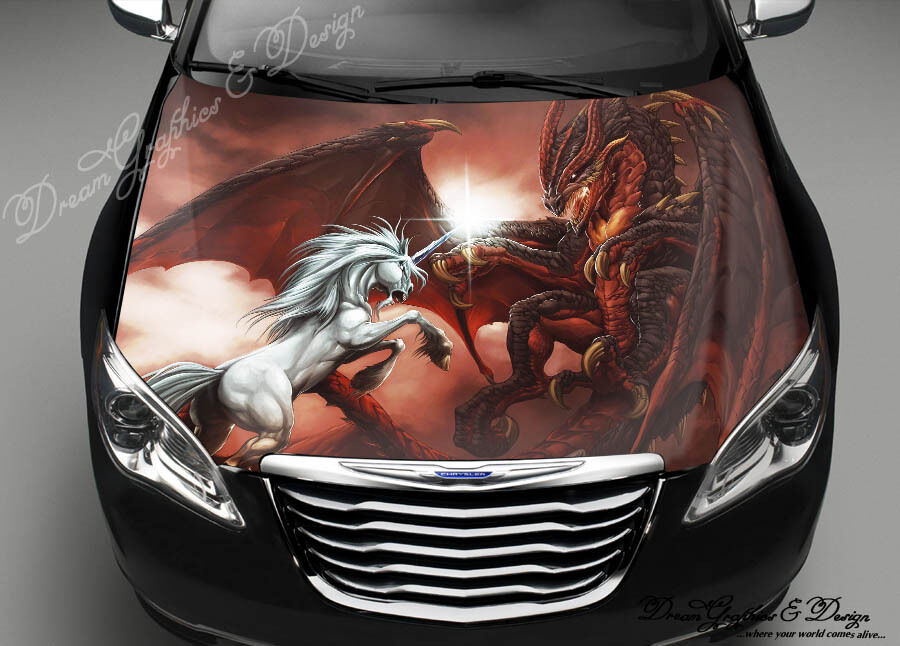 Dragon Unicorn Hood Full Color Graphic Wrap Decal Vinyl