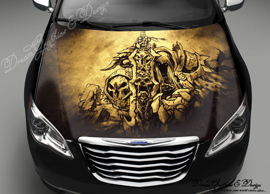 Truck Stickers For Back Window >> Skeleton Warrior Full Color Graphics Adhesive Vinyl Sticker Fit any Car Hood 196 | eBay