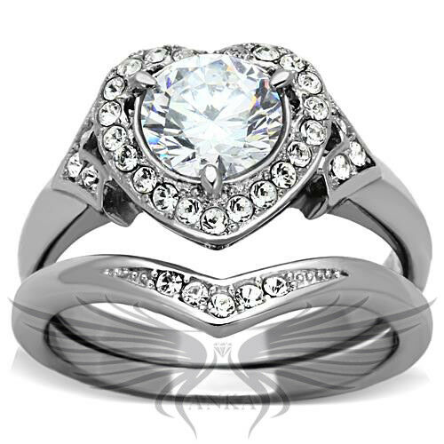Classy heart shaped lab created russian sim diamond for Lab created diamond wedding rings