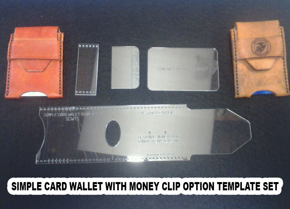 credit card wallet template set leather craft with money clip option scwts ebay. Black Bedroom Furniture Sets. Home Design Ideas
