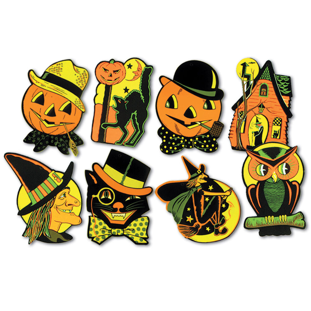8 retro halloween decorations die cut cutouts vintage Vintage halloween decorations uk