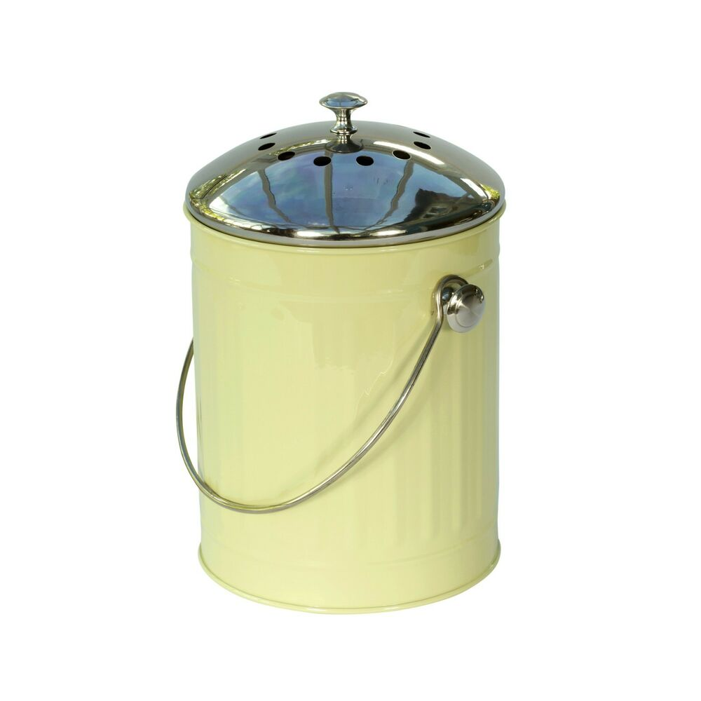 sage green kitchen compost caddy with stainless steel lid. Black Bedroom Furniture Sets. Home Design Ideas
