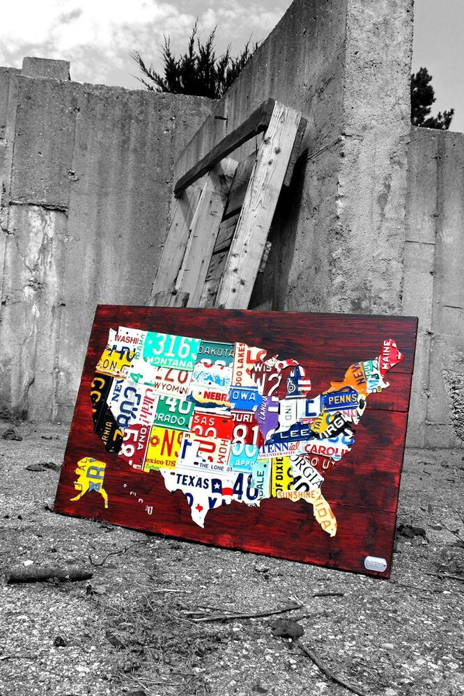 license plate map united states recycled metal wall art medium size 36 x 24 usa ebay. Black Bedroom Furniture Sets. Home Design Ideas