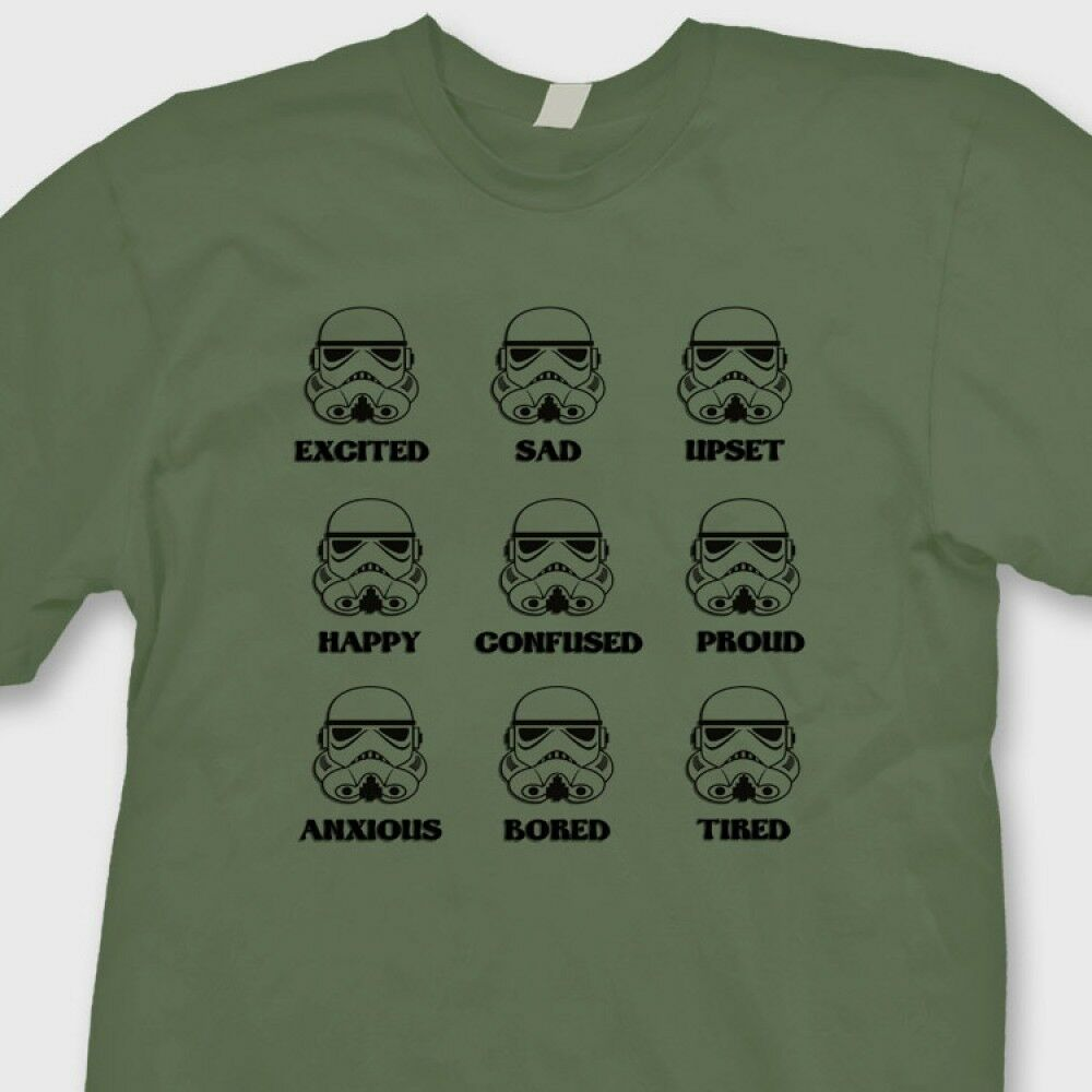 stormtrooper emotions star wars movie t shirt funny tee shirt ebay. Black Bedroom Furniture Sets. Home Design Ideas