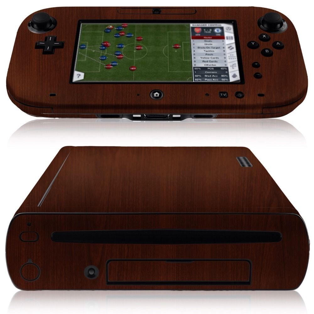 skinomi dark wood skin screen protector for nintendo wii u console gamepad ebay. Black Bedroom Furniture Sets. Home Design Ideas