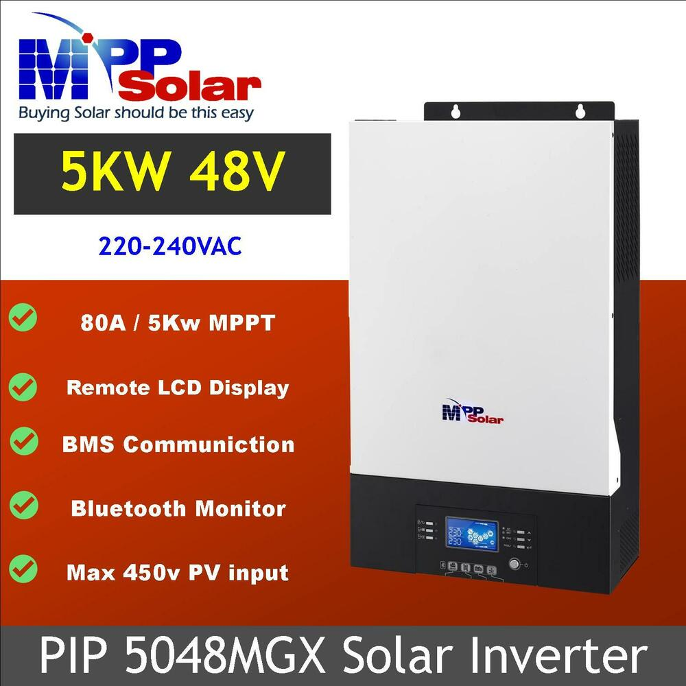 Mg 5000w 48v Solar Inverter 80a Mppt Charger Pv 450vdc Battery Circuit With High Low Cutoff 60a Ebay