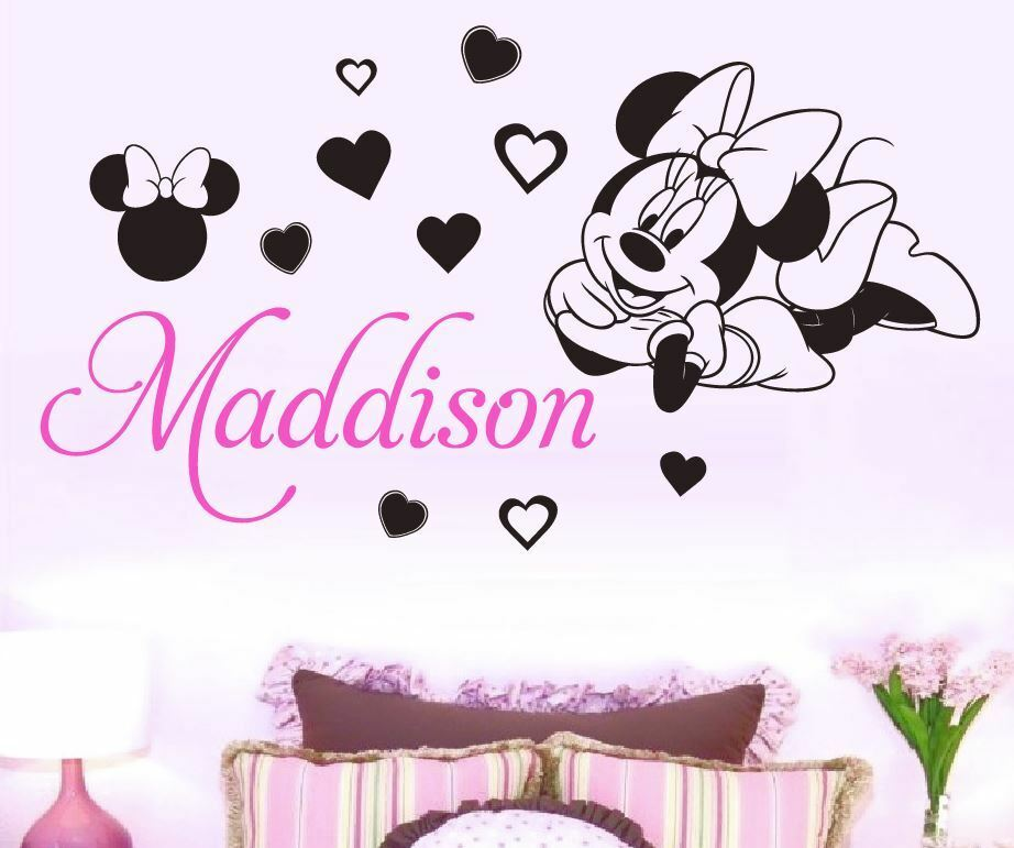 Minnie Mouse Custom Name Wall Sticker Removable 3 Designs