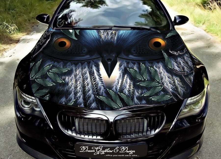 Owl Car Bonnet Wrap Decal Full Color Graphics Vinyl