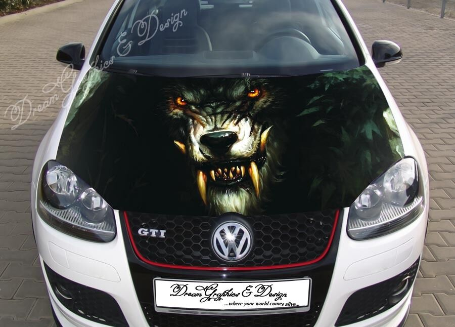 Angry Wolf Full Color Graphics Adhesive Vinyl Sticker Fit