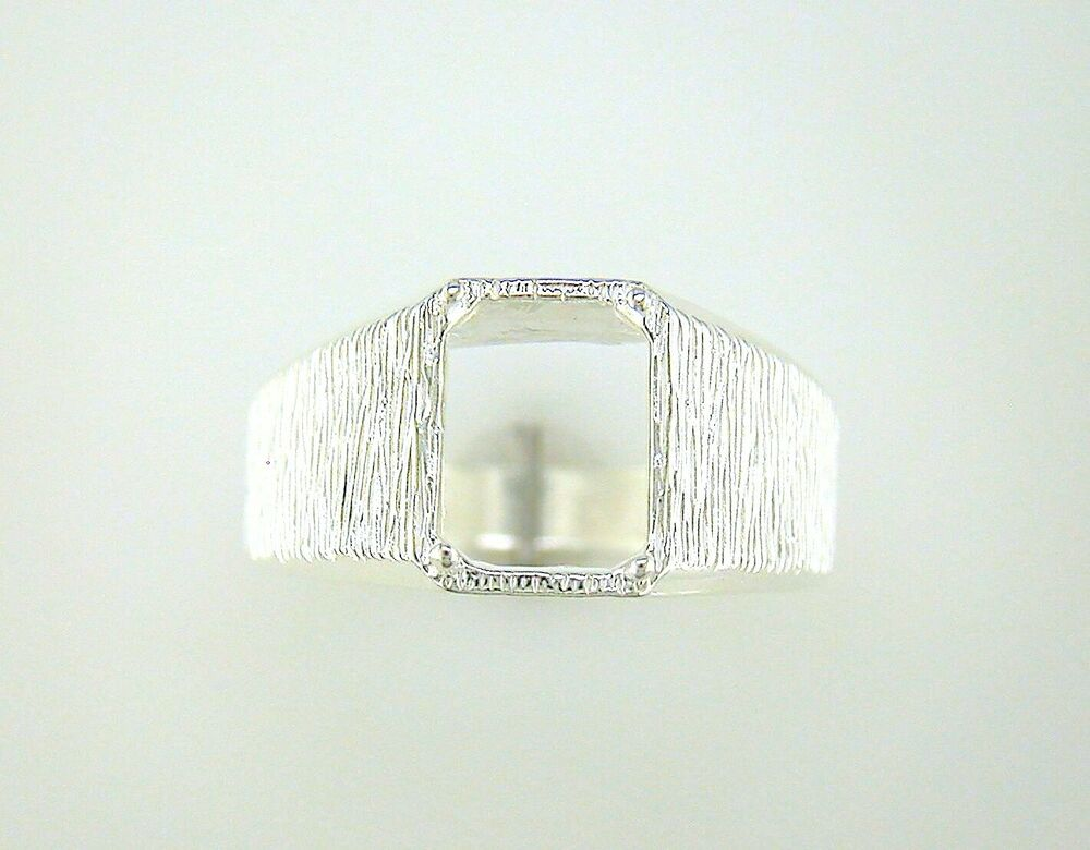 mens emerald cut textured solitaire ring setting sterling silver ebay. Black Bedroom Furniture Sets. Home Design Ideas