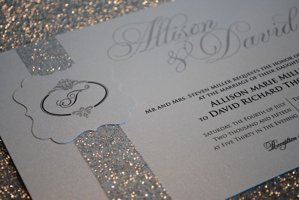 1 sample silver wedding invitation with beautiful glitter With samples of silver wedding invitations