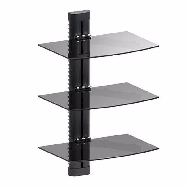 3 tier glass shelf wall mount under tv cable box component. Black Bedroom Furniture Sets. Home Design Ideas