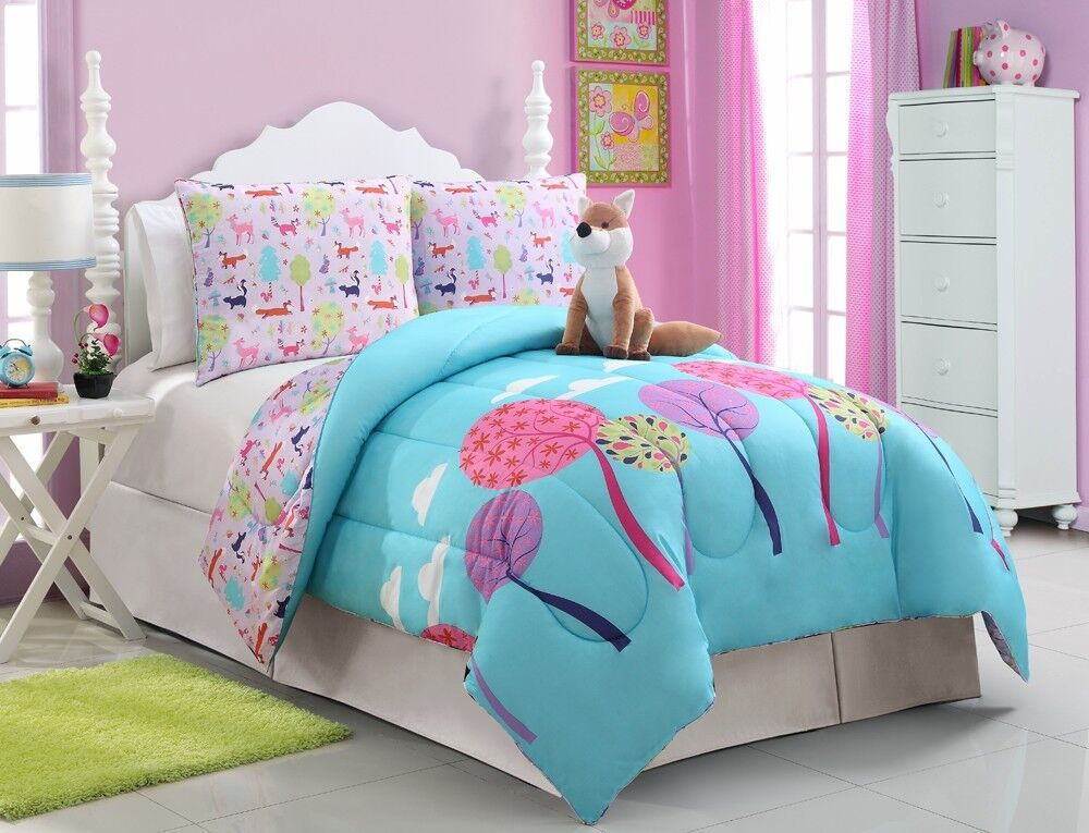 girls kids bedding foxy lady comforter set full size ebay. Black Bedroom Furniture Sets. Home Design Ideas