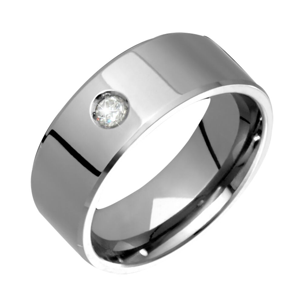 mens titanium ring solitaire diamond wedding band engagement ring size