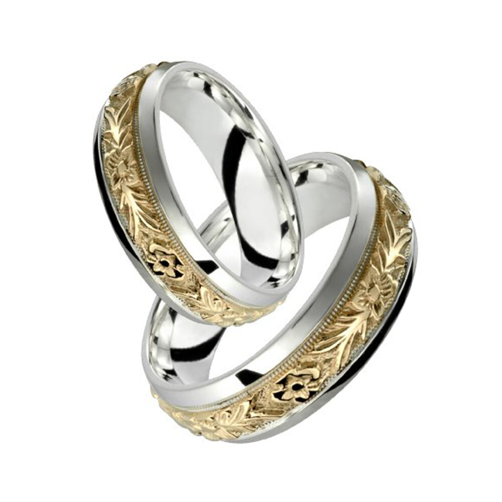 10k yellow gold w sterling silver ring elegant floral for Wedding rings silver and gold