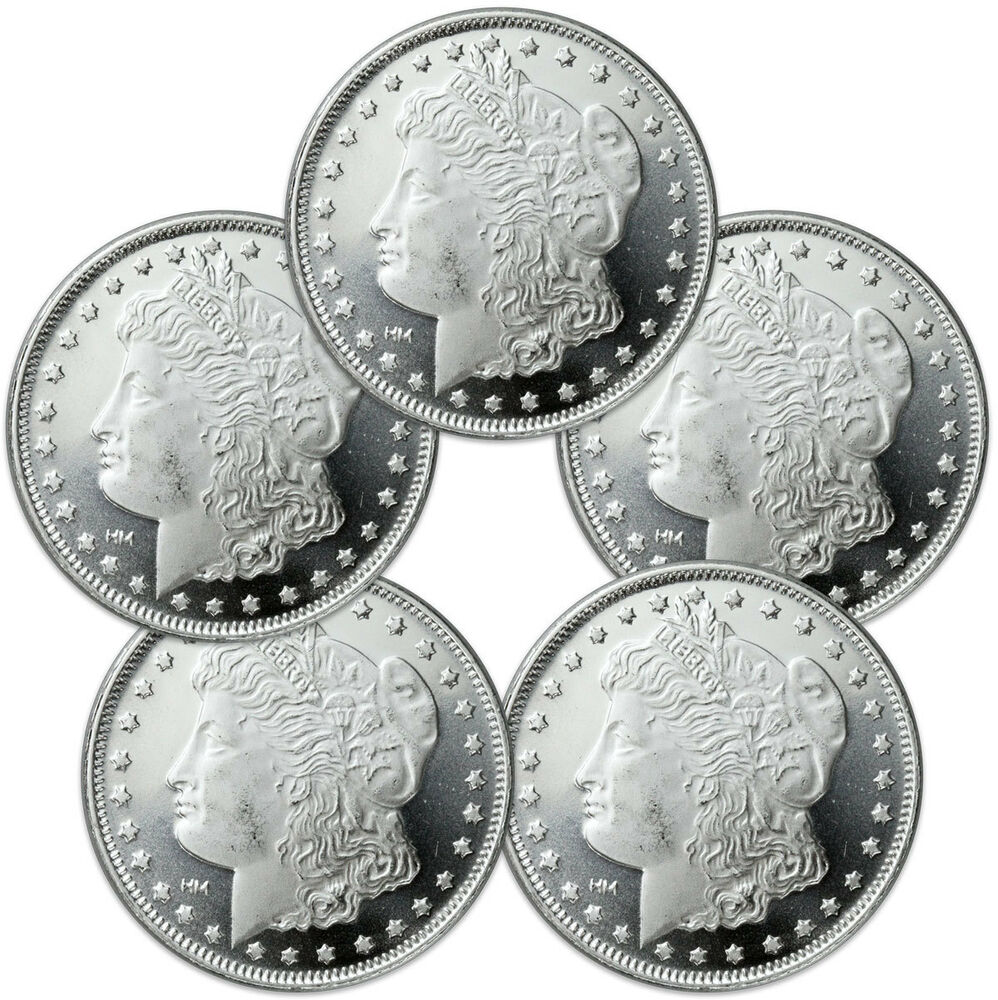 Lot Of 5 Morgan Dollar Design 1 Troy Oz 999 Fine Silver