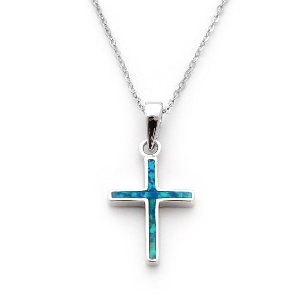 sterling silver blue inlay opal cross pendant necklace. Black Bedroom Furniture Sets. Home Design Ideas
