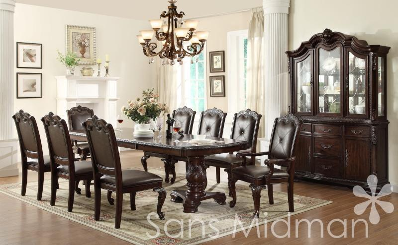 New kira 12 pc formal dining set table w 2 leaves 10 for Dining room table and buffet sets