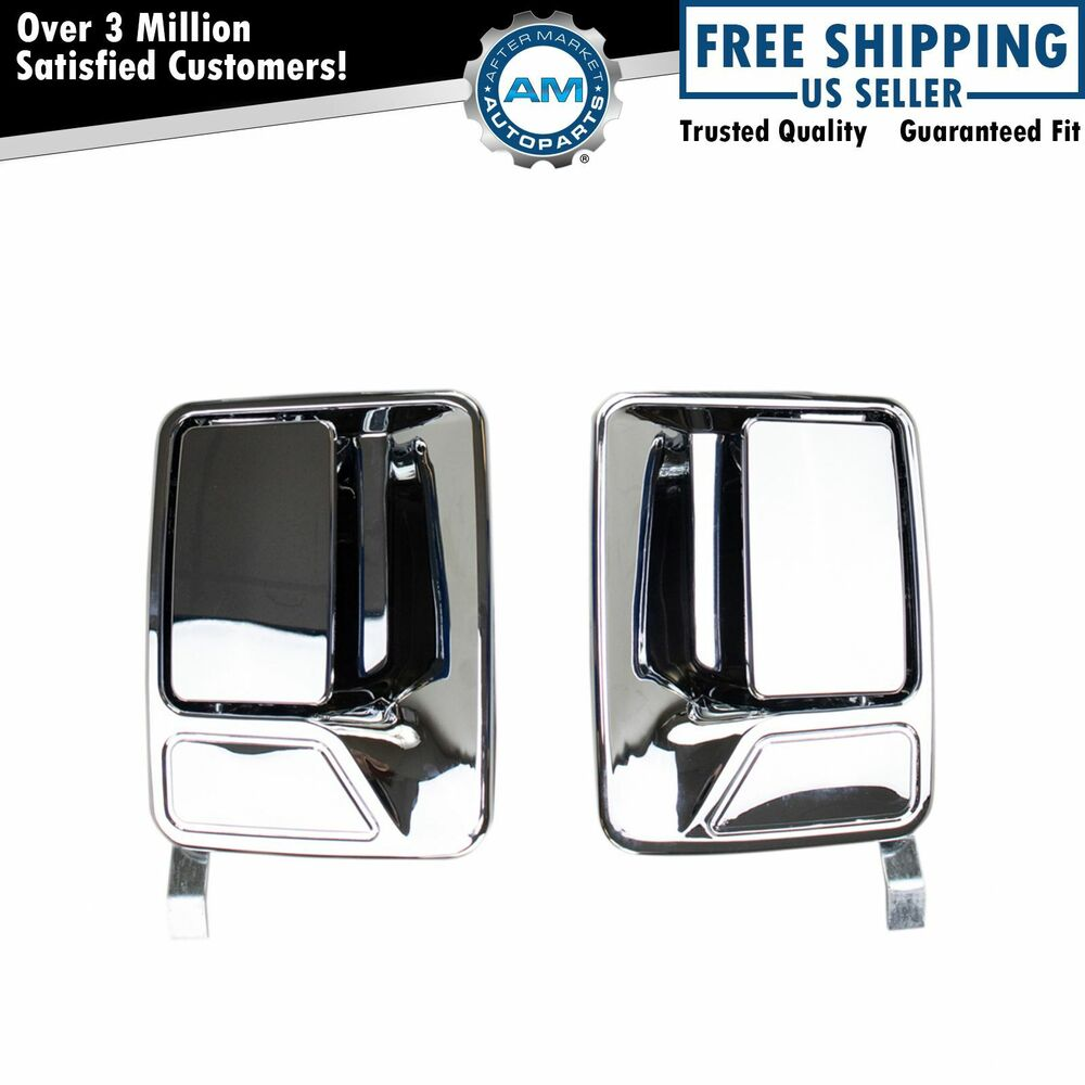 Rear chrome outside exterior door handles pair set for for Rear exterior door