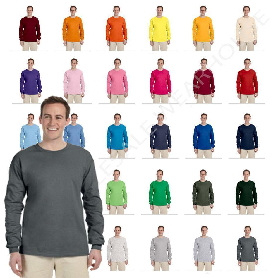 New Fruit Of The Loom Tee Heavy Cotton Mens Long Sleeve T Shirt