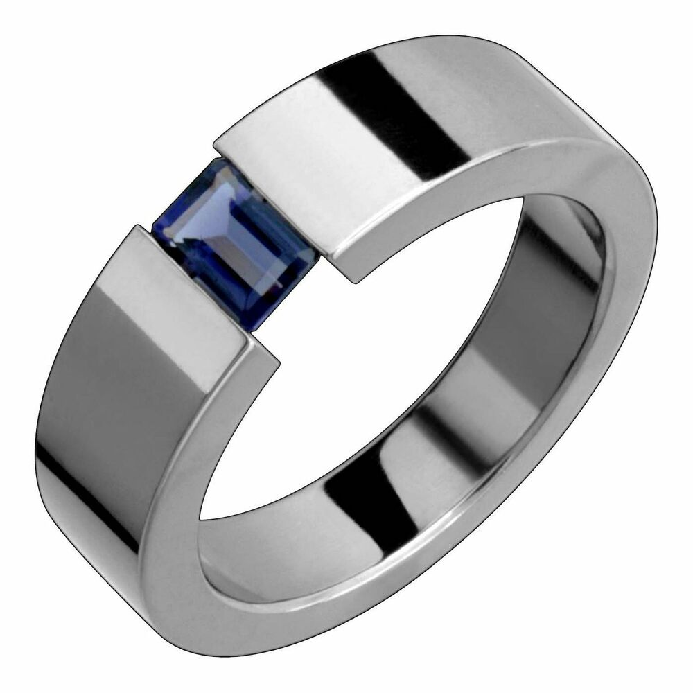 titanium band with iolite tension set comfort fit 7mm wide