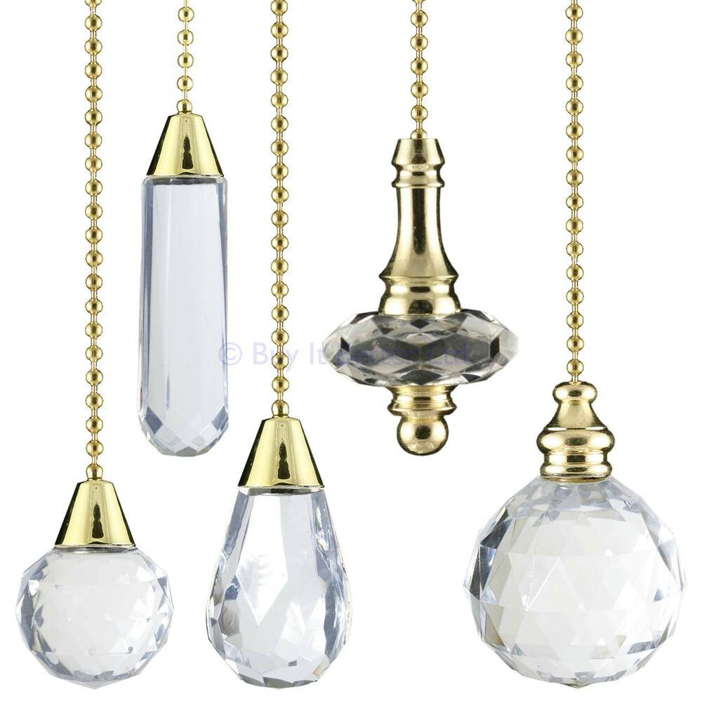 Light Pull Chain Cord Clear Acrylic Crystal Brass Gold