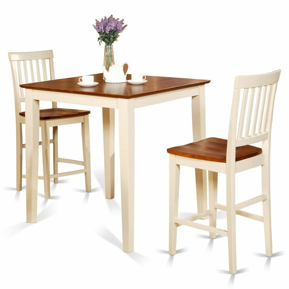 3 Pcs Modern Counter Height Dining Set Table And 2 Chairs: 3pc Counter Height Pub Set Table + 2 Bar Stool Wood Chairs