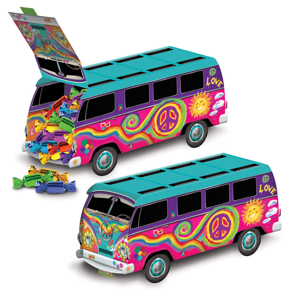 1 groovy retro 60s party decoration hippie tie dye love peace bus centerpiece ebay. Black Bedroom Furniture Sets. Home Design Ideas